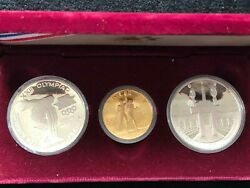 Olympic 1984-w 10 Gold 1983 And 1984 1 Silver 3 Piece Proof Commemorative Set