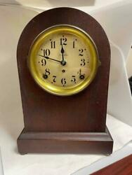 Old Seth Thomas 89ad Mahogany Beehive Shelf Mantle 8 Day Clock Celluloid Dial
