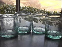 Rare Set Of 4 Western Cowboy Rodeo Theme Etched Whiskey Low Ball Glasses Glass
