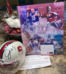 John Elway Autographed Qband039s Of The Century 8x10 Psa/dna And Stanford Mini Helmet