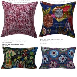 100 Pc Lot Indian Cotton Throw Pillow Case Floral Pattern Kantha Cushion Cover