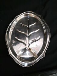 Vintage Silver Footed Platter Tray Meat Serving Tray W/ Well 16.5 Unstamped