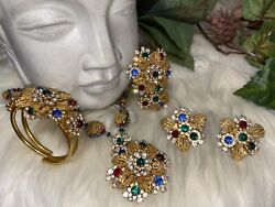 Miriam Haskell Vibrant Hollywood Style Complete 4 Piece Set Mint Condition A16