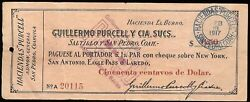 Mexico S-unlisted M1167 Guillermo Purcell Y Cia 50c Us 13.2.1917 F/vf