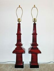 Huge Pair Table Lamps Red Pagoda Chinese Chinoiserie Asian Mid Century Obelisk