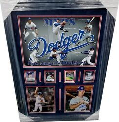 Kirk Gibson Steve Garvey Maury Wills Signed Photo Collage Framed Dodgers Mvpand039s