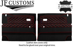 Red Stitch Luxe-leather 2x Front Door Card Covers For Defender 90 110 Style 3