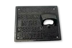 Cast Iron Antique Style Wall Mounted Mess Room Bottle Opener