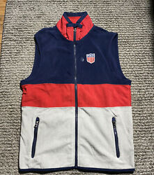 Polo Colorblock Blue/red/grey Spell Out Flag Patch Fleece Vest Mens S Msrp-150