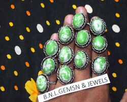 Green Turquoise Gemstone Jewelry Rings, Lovely Lot 925 Sterling Silver Overlay