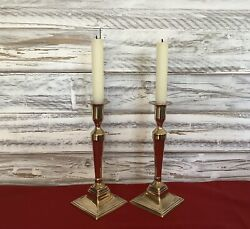 Fine Pair Of Late 18th C. English Georgian Cast Brass Ejector Candlesticks C1775