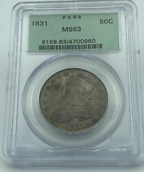 1831 Pcgs Ms63 Capped Bust Half Silver Dollar Old Green Holder