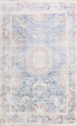 Antique Muted Kirman Distressed Hand-knotted Evenly Low Pile Wool Area Rug 9x13