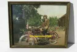1915 Indian Motorcycle Female Woman Driver Hand Tinted Photograph San Jose Cal