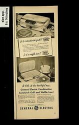 1950 General Electric Sandwich Grill Waffle Iron Vintage Print Ad 13027