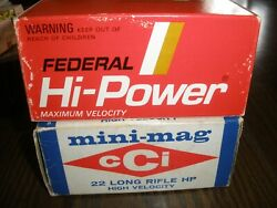 Vintage Lot Of 2 Empty Ammo Boxes Federal Hi-power And Mini-mag Cci Long Rifle