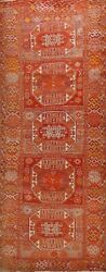 Antique Geometric Authentic Oushak Turkish Runner Rug Hand-knotted Hallway 4x11