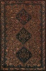 Pre-1900 Vegetable Dye Abadeh Tribal Geometric Area Rug Hand-knotted 6x9 Carpet