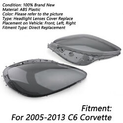 Smoke Headlight Lens Replacement And Black Gaskets Trim Kit For C6 Corvette 2005