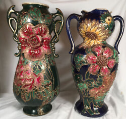 Antique 18andrdquo Pair Xtra Large Barbotine Vases Floral French Majolica Pottery Match
