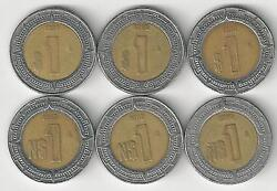 6 Bi-metal 1 Peso Coins From Mexico 1993 1994 1995 1996 1997 And 1998