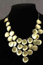 Modern Costume Jewelry Gold Tone Hammered Disc Coin Evening Disco Necklace