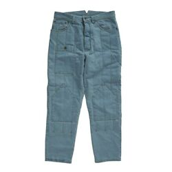 Quilted Blue Pants For Men - Based On Soviet Army Uniform - Winter Denim Pants