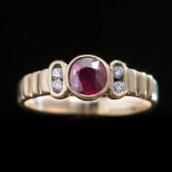 Vintage Natural Ruby And Diamond Single Stone Solitaire Ring