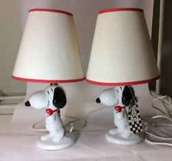 Vintage - Peanuts Snoopy Dog Ceramic Table Lamp Set Of Two Label