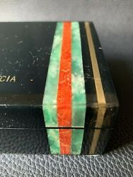 Vintage Antique Luxury Lacquered Humidor Gold Jade And Red Coral Strips Cigars Box