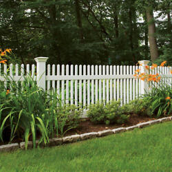 80and039 Of 4and039 High Pvc Vinyl Louisville Victorian Picket Fence Straight Top W/arbor
