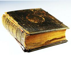Large Antique Victorian Embossed Leather Brass Rev John Brown Family Holy Bible