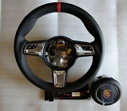 991.2 Stick Multi Function New Style Blk Red Top Steering Wheel A-bag Fit 991.1