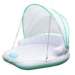 Comfy Floats Cabana Pool Float With Retractable Cover And Cool Misting White