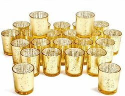 24Pack Votive Candle Holders Bulk Speckled Mercury Tealight Candle Holder GOLD