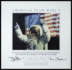 Americaand039s Team - Weand039re 1 24 X 25 Poster Signed By Alan Bean And Buzz Aldrin