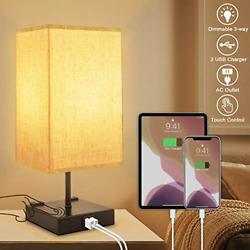 3-way Dimmable Touch Control Table Lamp With 2 Usb Charging Ports2 Ac Outlets