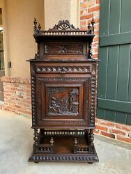 19th Century Antique French Carved Oak Confiturier Wine Cabinet Display Brittany