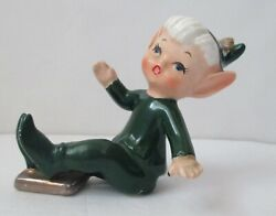 Vintage Lefton Green Elf Pixie Playing Baseball Sliding In To Home Plate 2788