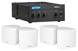 Crown Commercial Amplifier+4 3.5 White Cube Speakers For Restaurant/bar/cafe