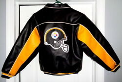 Pittsburgh Steelers Leather Jacket Sewn Logos - Youth Size Large - Xl