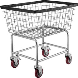 Vevor Commercial Heavy Duty Wire Laundry Basket Cart On Wheels