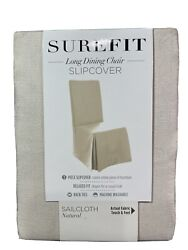 Nip Surefit Long Dining Chair Slipcover - Sailcloth Natural - Fits To 42andrdquo Chairs