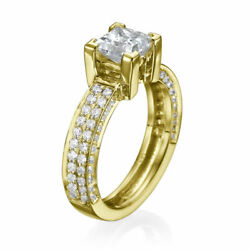 H/si2 Princess Cut Diamond Engagement Ring 1.50 Ct 14k Yellow Gold Solitaire
