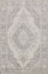 Antique Muted Tebriz Distressed Hand-knotted Evenly Low Pile Wool Area Rug 7and039x9and039