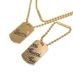 One Dog Tag Diamond Necklace 18k Pink Gold 13.5g In Total 17.7 Unisex