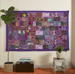 Vintage Tapestry Indian Purple Handmade Patchwork Wall Hanging Cotton 40quot; X 60quot;