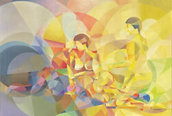 Huge 1980and039s French Cubist Abstract Signed French Oil - Bright And Colorful Figures