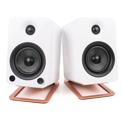 Kanto Yu4 Powered Bookshelf Speakers With Bluetooth And S4 Speaker Stands - Pair