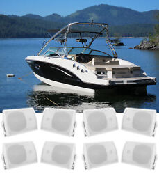 8 Rockville Hp5s 5.25 Marine Box Speakers With Swivel Bracket For Boats